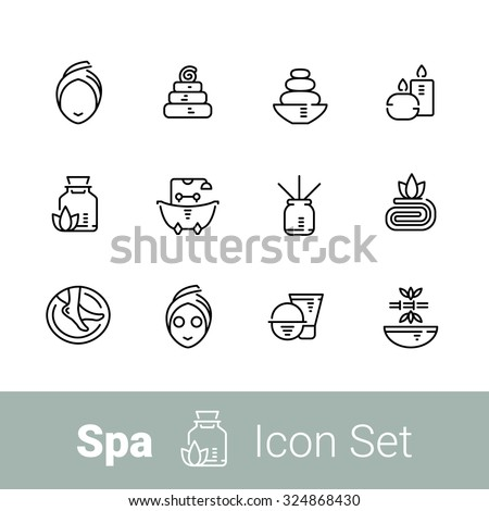 Spa outline icon set of 12 icons. EPS 10 - stock vector