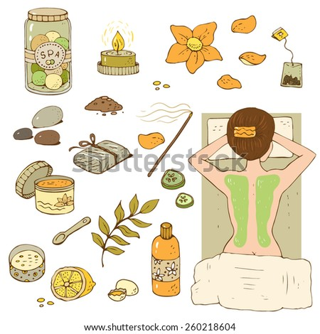 Spa relax set with aromatherapy elements. - stock vector