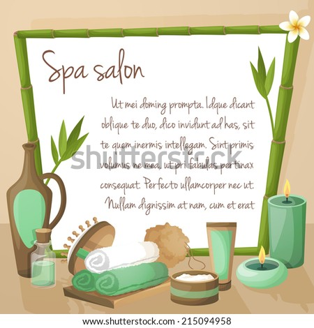 Spa salon background with bamboo frame and therapy products vector illustration - stock vector