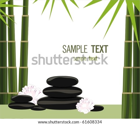Spa stones, bamboo and exotic flowers
