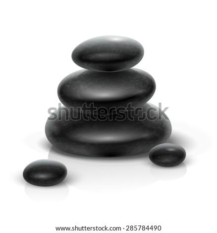 Spa stones black heap. Eps10 vector illustration. Isolated on white background - stock vector