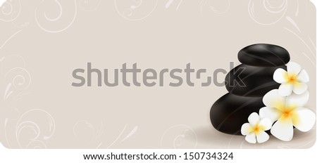 Spa swirl background with stones and plumeria - stock vector
