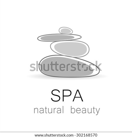 SPA - template logo for Spa lounge, beauty salon, massage area, yoga center, natural cosmetics etc.. The balancing cairn - a symbol of harmony, tranquility and relaxation. - stock vector