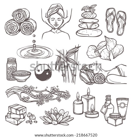 Spa therapy beauty health care alternative medicine sketch icons set isolated vector illustration - stock vector