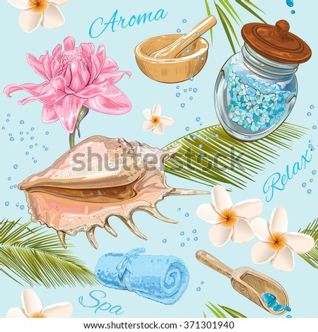 Spa treatment seamless pattern with pink lotus, frangipani and palm leafs .Design for cosmetics, store,spa and beauty salon.Vector illustration - stock vector