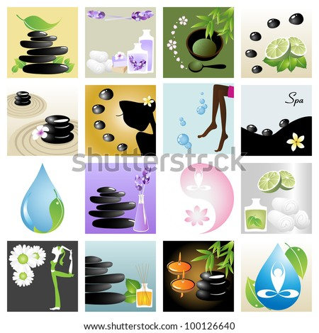 Spa & wellness graphic design elements for icons, logos & background. (Part 5)