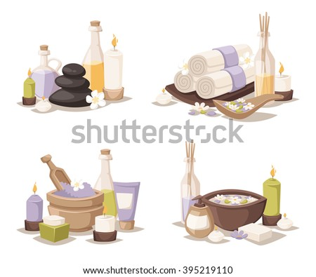 Spa wellness icons and body spa relaxation icons vector. Spa still life icons with water lily and zen stone in serenity pool vector.  - stock vector