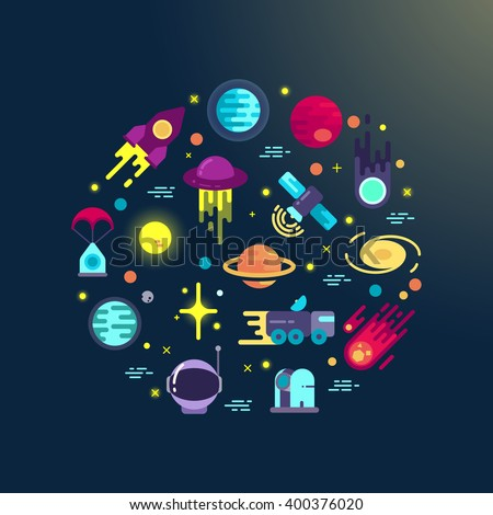 Space abstract background with flat space icons in circle composition. Space exploration infographic element - stock vector