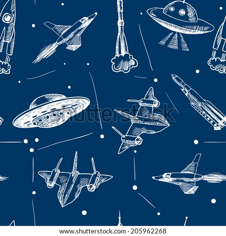 Space aircraft rocket and ufo flying in stars sketch seamless pattern vector illustration - stock vector
