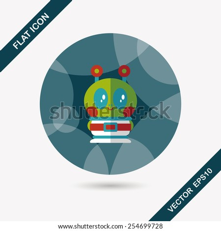 Space alien flat icon with long shadow,eps10 - stock vector