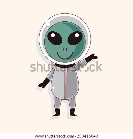 Space alien theme elements - stock vector