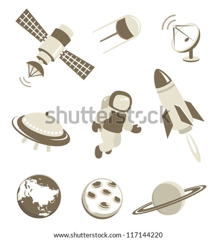 Space and air transport icons set with planets - stock vector
