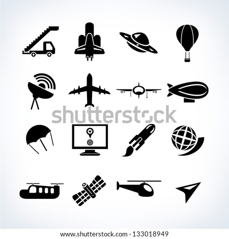 space and airplane icons set