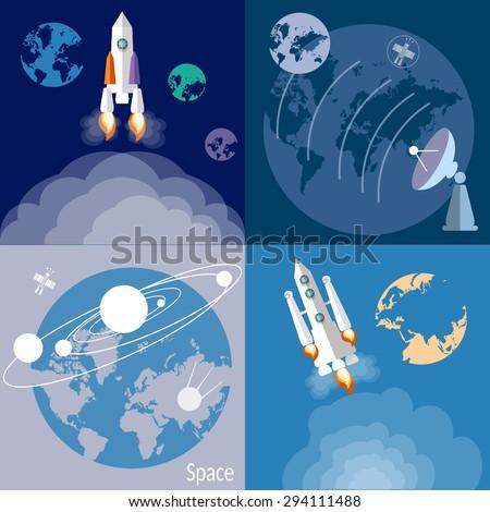Space and astronautics rockets spaceships planets orbit satellite galaxy universe radar flat vector illustration - stock vector