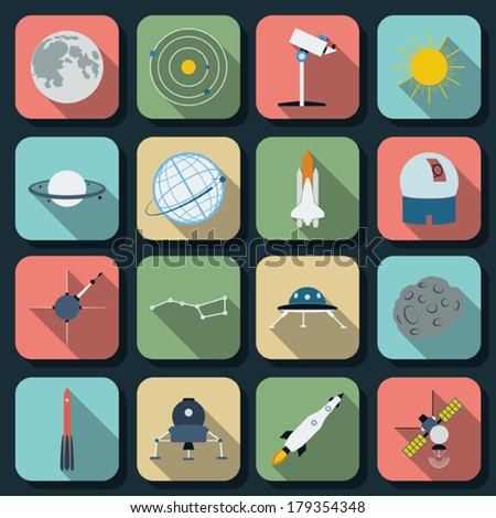 Space and astronomy flat vector icons - stock vector