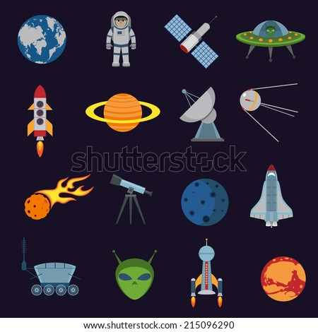 Space and astronomy icons set of rocket satellite earth alien isolated vector illustration - stock vector