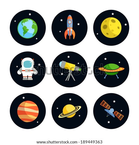Space and astronomy round icons set of earth rocket moon astronaut isolated vector illustration