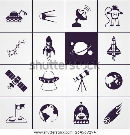 Space and astronomy science technologies icons black set isolated vector illustration