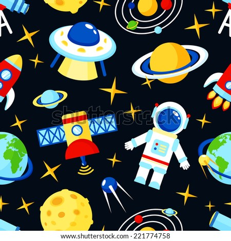 Space and astronomy seamless pattern with satellite astronaut saturn telescope vector illustration - stock vector