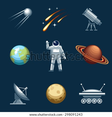 Space and astronomy set. Astronaut and spacesuit, cosmonaut and comet, moonwalker and telescope. Vector illustration
