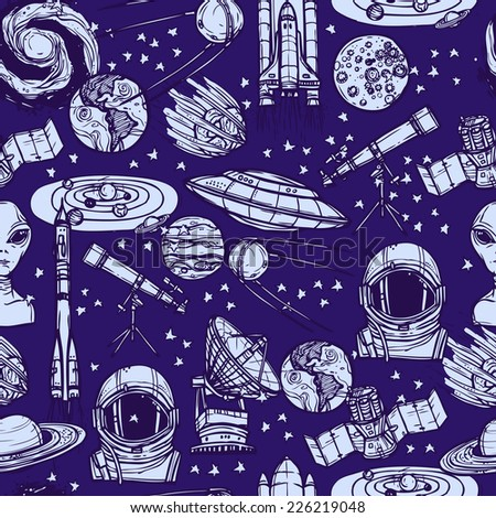 Space and astronomy sketch monochrome seamless pattern with saucer satellite solar system vector illustration - stock vector