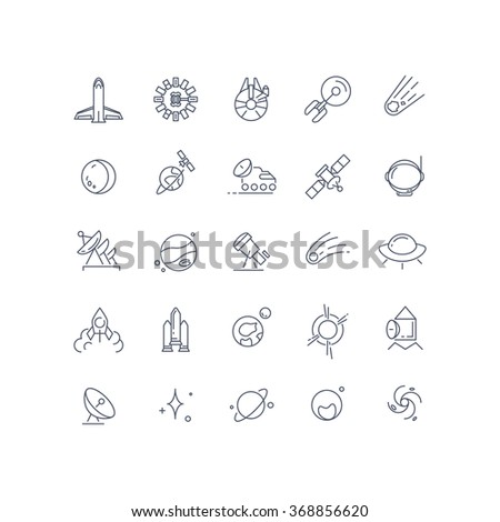 Space and astronomy vector line icons. Satellite and comet, technology connection on orbit, celestial and moonwalker, exploration galaxy illustration - stock vector