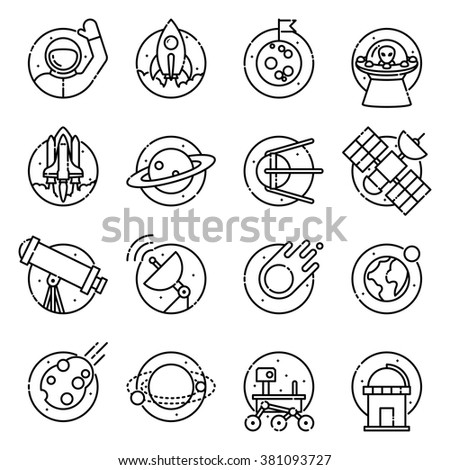 Space and astronomy, vector outline icons.