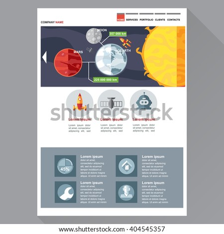 Space and cosmic exploration company web site theme layout. Digital background vector illustration.