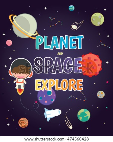 space and planet poster for kids.