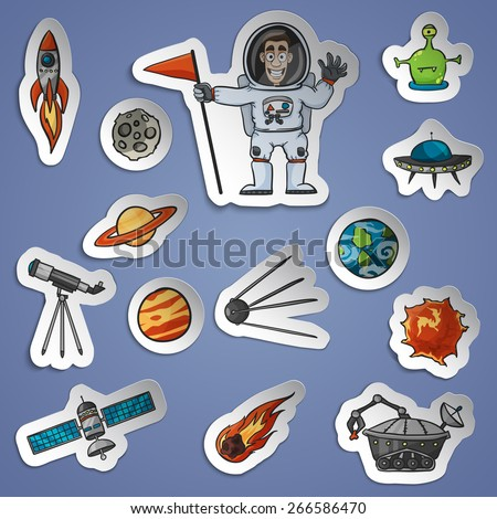 Space and science paper stickers set with spaceship telescope satellite isolated vector illustration - stock vector