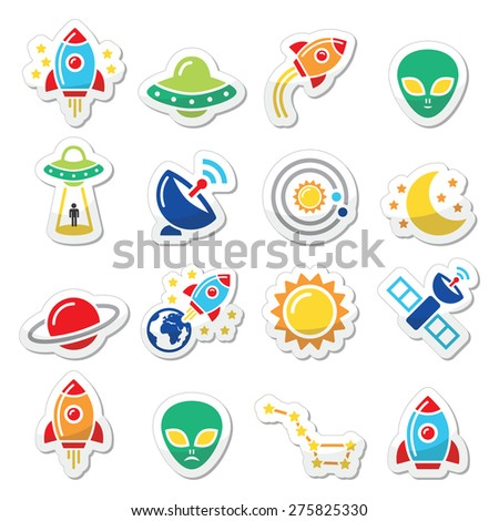 Space and UFO vector icons set  - stock vector