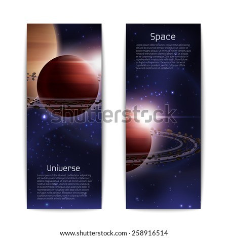 Space and universe banners vertical set with realistic planet with orbit isolated vector illustration - stock vector