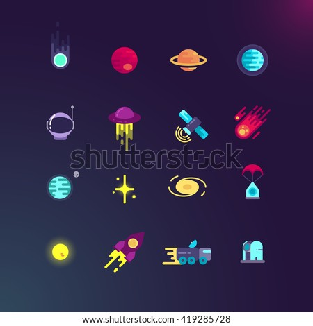 Space and vector flat icons set. Space rocket and planet, spaceship and satellite in universe, space rocket technology and comet illustration - stock vector