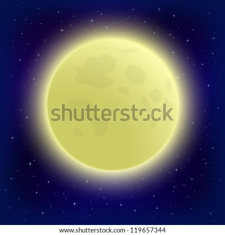 Space background, big bright moon in close-up and night starry sky. Vector eps10, contains transparencies - stock vector