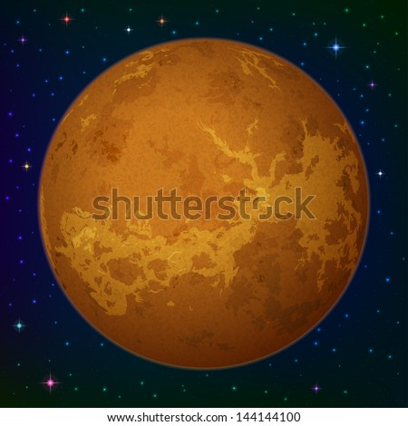 Space background, realistic planet Venus and stars. Elements of this image furnished by NASA. Eps10, contains transparencies. Vector - stock vector