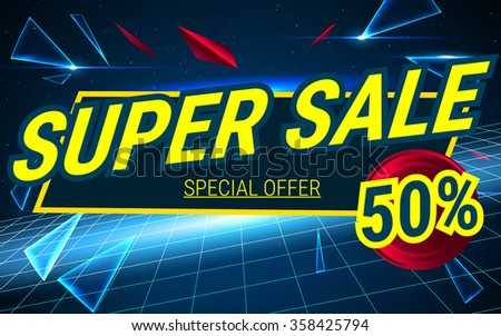 Space background sale. Big  tag, poster. Super Sale and special offer. 50% off. Can use for promotion. Vector illustration.