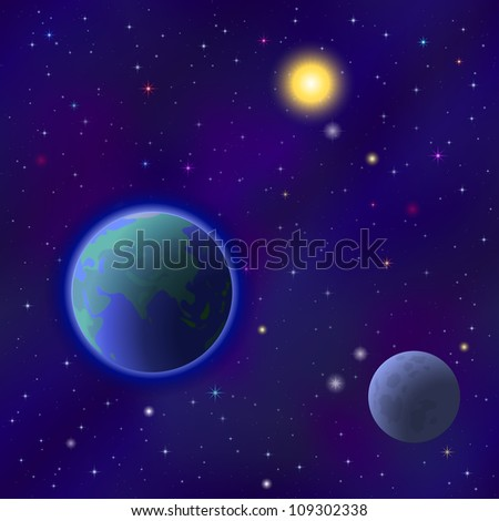 Space background seamless - planet Earth, moon, sun and stars. Vector eps10, contains transparencies - stock vector