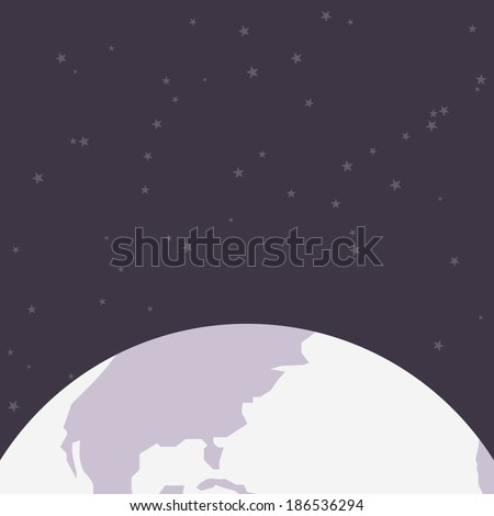 Space background, with abstract Earth. Flat design. Cosmos background, with stars. Astronomy concept. Space template, for your design. Easy to edit. Vector illustration - EPS10. - stock vector