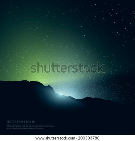 Space background with light and stars from behind of the rocks. Vector Illustration. - stock vector