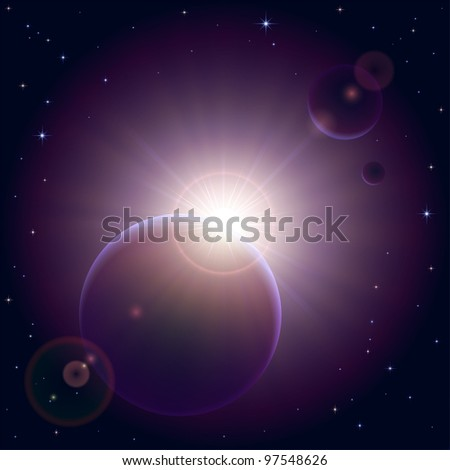 Space background with planet and shining sun, illustration. - stock vector
