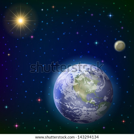 Space background with realistic planet mother Earth, moon, sun and stars. Elements of this image furnished by NASA (www.visibleearth.nasa.gov). Eps10, contains transparencies. Vector - stock vector