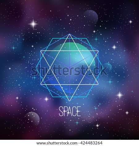 Space background with sacred geometry, stars and planet. Eps 10 - stock vector