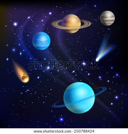 Space background with solar system planets comets and meteors vector illustration - stock vector