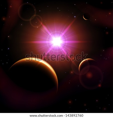Space background with sun and planet, illustration.