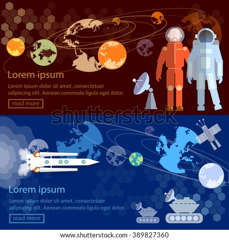 Space banners international space program, astronauts in space spacecraft vector illustration - stock vector