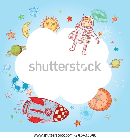 Space  Banners or Bookmarks, hand drawn vector illustration. - stock vector