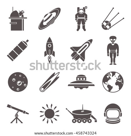Space black icon set with technical elements of equipments and tools ufo and planets vector illustration