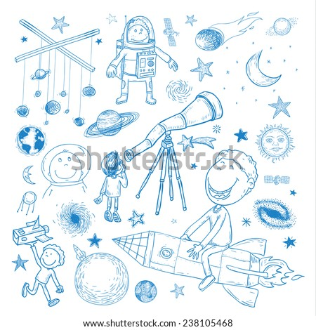 Space boy set, hand drawn vector illustration. - stock vector