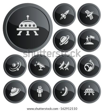 Space button set - stock vector