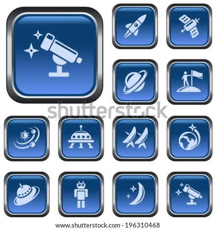 Space button set - stock vector